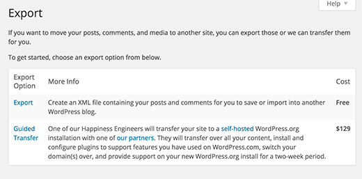 wordpress export types